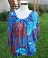 Style & Co. Blouse Large Shirt Sheer Peasant Bali Mirage Blue Teal Orange NWT