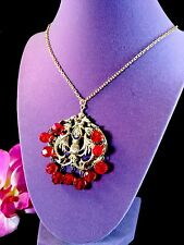 RARE NETTIE ROSENSTEIN VERMEIL STERLING RUBY RED DANGLE BEADS MERMAIDS PENDANT