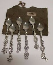 Set of 6 D. Prager & Sons Figural Spoons w/ Animal Handles w/ Org. Pouch ~ 5""