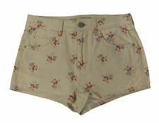 TOPSHOP MOTO Women's Cream/Multi Floral Denim Shorts 02U49Y US Sz 8 W30 NEW $68