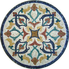 "16"" Handmade Decorative Medallion wall floor Marble Mosaic Art Stone Tile Decor."