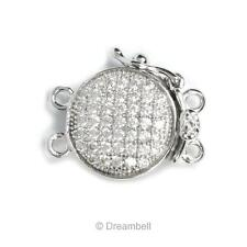 Rhodium Sterling Silver Round 2 Strands Micro Pave Cz Crystal Pearl Box Clasp