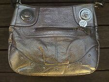 KATHY VAN ZEELAND Vegan Purse Handbag Shoulder Bag Metallic Bronze-Platinum Tone