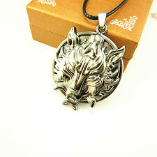 18'' Stainless Steel Wolf Head Round Plate Pendant Leather Chain Necklace Gift