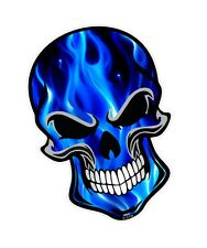 GOTHIC Biker SKULL & Electric Blue Flames Motif vinyl car bike sticker Decal