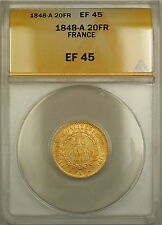 1848-A France 20 Fr Francs Gold Coin ANACS EF 45