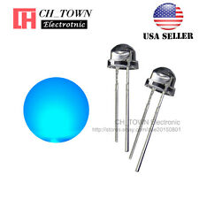 100pcs 5mm Straw Hat Blue Light Wide Angle Transparent LED Emitting Diodes USA