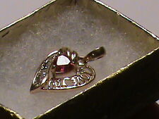 "Beautiful 10K Gold  ""I Love You""  Pendant with Red Stone"