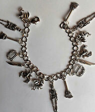 SILVER CHARM BRACELET SKELETON WITCHES BROOM VAMPIRE FANGS BAT DRAGON HALLOWEEN