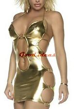 New Sexy Womens Glod PVC Halter Open Side Minidress Lingerie Clubwear + G-string