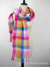 DONEGAL IRELAND Pink Plaid Mohair Wool Blend Scarf Wrap