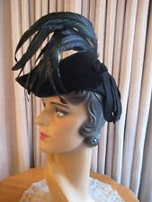 DISTINCTIVE 40'S BLK FELT TILT HAT W/VELVET FRONT BRIM AND TALL FEATHERS