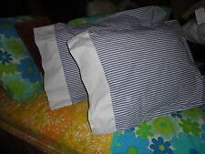 RALPH LAUREN CHAPS ALLISTAIR BLUE TICKING STRIPES (PAIR) STANDARD PILLOWCASES
