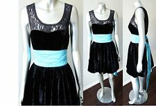 Betsey Johnson Punk Party Retro Lace Velour Satin Belt Cocktail Party Dress Sz M