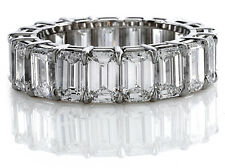 Gorgeous 4.00 Ct Emerald Cut Natural Diamond Eternity Ring Shared Prong 14K WG