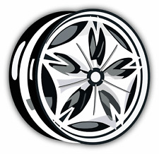 "Wheel Disk Car Bumper Sticker Decal 5"" x 5"""