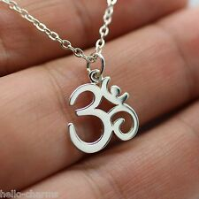 OHM NECKLACE - 925 Sterling Silver - *NEW* Namaste Yoga Ohm Jewelry Om Charm Ohm