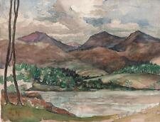 MARCUS ADAMS Watercolour Painting IMPRESSIONIST MOUNTAINS IN LANDSCAPE c1930