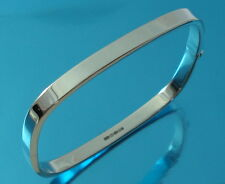 Solid 925 Sterling Silver Square Bangle Bracelet Plain 5mm Wide UK Hallmarked