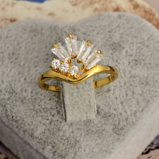 Artistic 9k Yellow Gold Filled White CZ Women's  Rings X0306 Size 7#