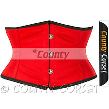 Shaper Cincher Mini Waspie Full Steel Boned Waistbust Sexy Red Cotton Corset