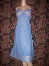 Vintage Vanity Fair Lacy Blue Plus Size Silky Nylon Slip Lingerie 42L