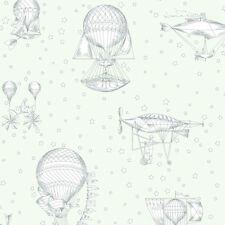 JR3001 - Jack N Rose Junior Green Grey Air ships Balloons Galerie Wallpaper