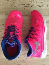 Nike Free 5.0 SZ 4.5 Y Girl's Athletic Running Shoes NEW 644446-601 Pink w Blue