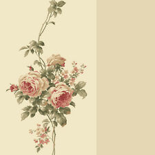 Wallpaper Classic Red Rose Trail Tone on Tone Beige Stripe Floral Roses