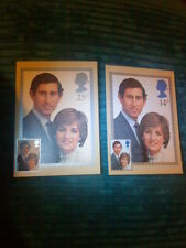 PRINCESS DIANA ROYAL WEDDING 1981 FIRST DAY COVER POST CARDS x 2 PRINCE CHARLES