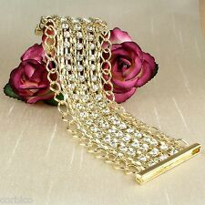 B3 Gold Plated Chain and Crystals Magnetic Clasp Cuff Bracelet 18cm 7inches