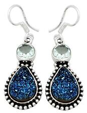 Blue Titanium Druzy Quartz Blue Topaz Earrings Solid 925 Silver Jewelry IE20845