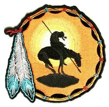 """(L21) Large END OF THE TRAIL 12"""" x 12"""" sew / iron on back patch (3285) Indian"""