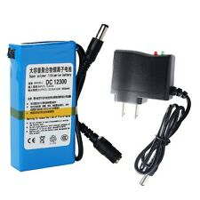 Blue Super Power DC 12V Rechargeable 3000mAh Li-ion Battery Pack +AC Adapter US
