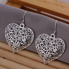New Women Fashion 925 Sterling Silver Plated Heart Studs Dangle Earrings Jewelry