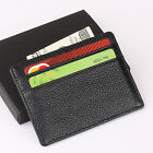 Mens Slim Wallet Genuine Leather Mini Credit Card Holder ID thin Cover Gift Box