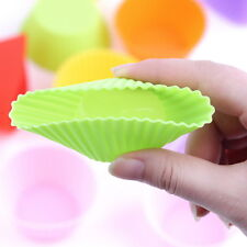 12 pcs Silicone Cake Muffin Chocolate Cupcake Liner Baking Cup Cookie Mold EA