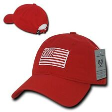Red USA US American Flag Patch United States America Polo Baseball Hat Cap