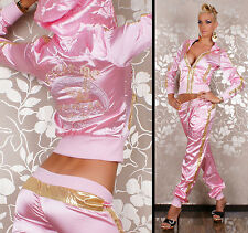 Sexy Redial Womens Rose Satin Hoodie Ladies Tracksuit Jogging Set Size M