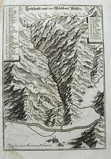 Bad Pfäfers Landkarte Tamina  Schweiz alter Merian Kupferstich  Erstausgabe 1642