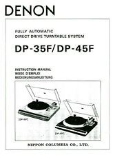 Denon DP-45F Turntable Owners Manual
