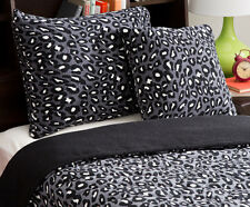Black White Cheetah Animal Print Comforter Set Twin XL 3-PC Teen Fleece Bedding
