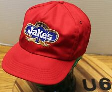 VINTAGE JAKE'S DIET COLA SNAPBACK RED ADVERTISING HAT USA MADE VGC