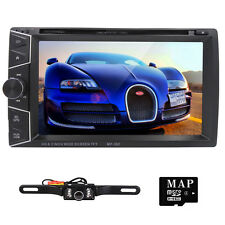 Double Din Car DVD Player Stereo Radio GPS Navi With 3D Map Auto HeadUnit+Camera