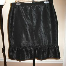 $89 ANN TAYLOR Cool Black Polka Dot Textured Skirt w/Ruffle Bottom Hem SIZE 8