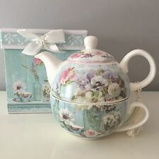VINTAGE STYLE DITSY FLORAL TEA FOR ONE TEAPOT DUCK EGG BLUE GIFT BOXED TEA CUP