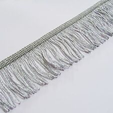 "Silver lurex métallique Bouclé robe frange 50mm Large 2 ""Craft, mode, par la m"