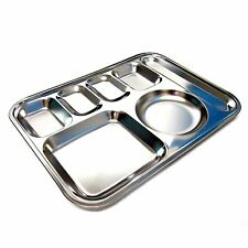 Stainless Steel Diet Plate Divided Dish Portion Platter System Food Control Tray