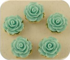 Beads Roses Flowers AQUA Lucite with Gold Metal Settings ~ 2 Hole Sliders QTY 5