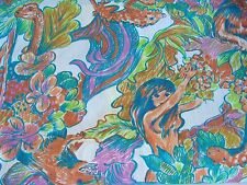 Vintage Psychedelic Novelty Canvas Fabric Women Jungle Lizard 5 + yards